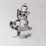 Inktober Tag Nummer 2 - Coffee Cat