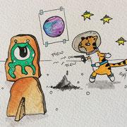 Inktober Tag Nummer 14 - Space Cat