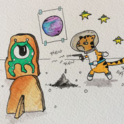 Inktober Tag Nummer 14 - Space Cat