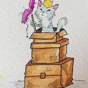 Inktober Tag Nummer 15 - Royal Cat