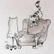 Inktober Tag Nummer 4 - Ghost Cat
