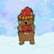 Frierender Bär im Schnee