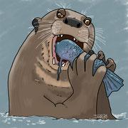 Otter beim Frühstück