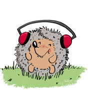 Igel entspannt sich mit Musik