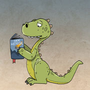 lesender Dinosaurier