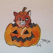Inktober Tag Nummer 30 - Pumpkin Cat