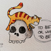 Inktober Tag Nummer 24 - Skeleton Cat