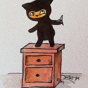 Inktober Tag Nummer 19 - Ninja Cat
