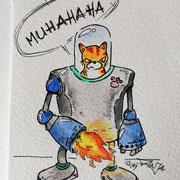 Inktober Tag Nummer 21 - Robot Cat