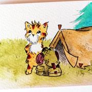 Inktober Tag Nummer 23 - Camping Cat