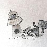 Inktober Tag Nummer 3 - Area 51 Cat