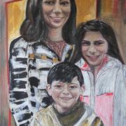 Theresa, George und Talin,  2015, Öl auf Leinwand, 110 x 70 cm
