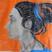 Bea, Bleistift und Wachsmalkreide auf Papier, 2018, 42 cm x 60 cm