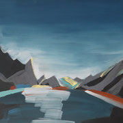 Norwegen X,  2018, Acryl auf Karton, 35 cm x 40 cm