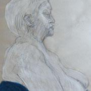Monika in weiß, Bleistift und Tempera auf Papier, 2018, 60 cm x 42 cm