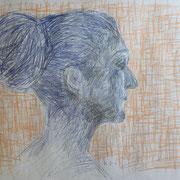 Bea in Blau, Buntstifte auf Papier, 2018, 42 cm x 60 cm