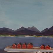 Norwegen II,  2018, Acryl auf Karton, 35 cm x 40 cm