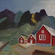 Norwegen III,  2018, Acryl auf Karton, 35 cm x 40 cm