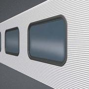 Isopaneel mit abgerundeten Fenstereinsätzen