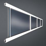 Alu-Rahmen-Sektion mit Kunststoffverglasung