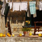 und die erste Zitronen- und Orangenernte von den Bäumen im Innenhof