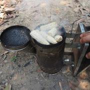 巣箱に蜂除けの煙を炊く準備