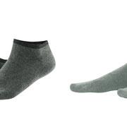 Sneakersokken Enid in bio-katoen met 2% elastaan, per 2 paar verpakt, kaki en riet, Living Crafts
