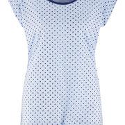 Nachthemd Gina in 100% bio-katoen jersey, lichtblauw met donkerblauwe stippen, Living Crafts, beschikbaar in de maten XS, S, M, L en XL, prijs: 19,99 €
