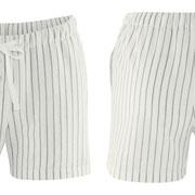 Pyjamashort Elissa in 70% bio-katoen en 30% linnen geweven, wit/riet, Living Crafts, beschikbaar in de maten 34; 36; 38; 40; 42 en 44, prijs: 29,99 €