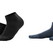 Sneakersokken Enid in bio-katoen met 2% elastaan, per 2 paar verpakt, zwart en marineblauw, Living Crafts