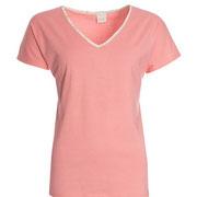 Nachthemd met korte mouwen in 100% bio-katoen tricot, flamingo rood, Antichi, beschikbaar in de maten 34; 36; 40; 42 en 46, prijs: maat 34-40: 24,90 €, maat 42-46: 27,40 €