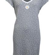 Slaapkleed in 100% bio-katoen tricot, grijs melange met magrietjes, Antichi, beschikbaar in de maten 36; 38; 40; 42; 44 en 46, prijs: 44,90 €