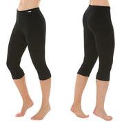 Legging, knielang, in 92% bio-katoen en 8% elastaan jersey, zwart, Comazo Earth, beschikbaar in de maten 36, 38, 40, 42 en 44, prijs: 24,95 €