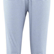 3/4-pyjamabroek Elena in 100% bio-katoen fijne rib, lichtblauw met donkerblauwe strepen, Living Crafts, beschikbaar in de maten XS, S, M, L en XL, prijs: 27,99 €