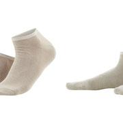 Sneakersokken Enid in bio-katoen met 2% elastaan, per 2 paar verpakt, taupe en naturel, Living Crafts