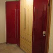 Garderoben- Flurschrank, Erle Massivholzplatte, hochglanzlack