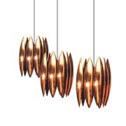 Set of 3 Louis Weindorf copper pendant light, Fong & Morup editionn Denmark, 1960s