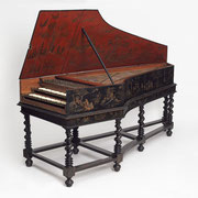 Harpsichord,  Bancroft, born 1675 - died 1750, Vaudry Family  1681 made (except music stand, maker) © V&A Images. All Rights Reserved