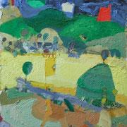 -Unwichtige gelbe Fahne - (2004) Öl auf Leinwand bezogener Tischlerplatte (67x52)