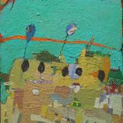 -Die rote Linie - (2005) Öl auf Leinwand bezogener Tischlerplatte (67x52)