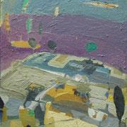 -Störfall einer Pappel - ( 2007) Öl auf Leinwand bezogener Tischlerplatte (67x52)