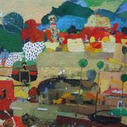 -Aufkommender Regen vor Tankstelle - (2004) Öl auf Leinwand