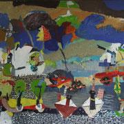 -Die Sache mit den Papierschiffchen - (2002) Öl auf Leinwand (135cm x185 cm )
