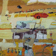 -Übergang zum Chaos - ( 2004) Öl auf Leinwand bezogener Tischlerplatte