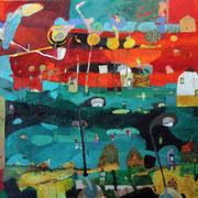 - Glutnacht mit Straßenlampen - ( 2004) Öl auf Leinwand 135x185