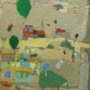 """- Tischtennisplatte in der Sparte """"Zum Frohsinn"""" (2006)Öl auf Leinwand bezogener Tischlerplatte (67x52)"""
