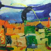 -Landschaft mit Hantel-Öl auf Leinwand   (135cm x185 cm )