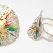 zilveren ring en hanger met kleurhars en bladgoud prijs vanaf €95,-