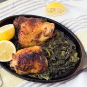 one-skillet lemon-garlic chicken with creamed spinach recipe