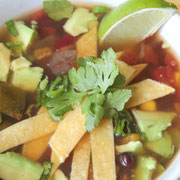 easy vegan tortilla soup made in the slow cooker
